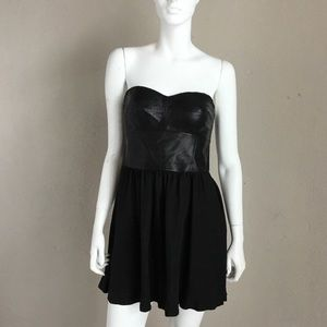 Rebecca Taylor leather strapless dress